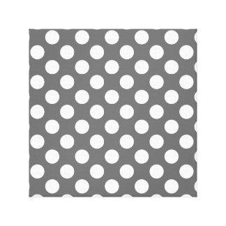 Charcoal and White Polka Dots Canvas Print