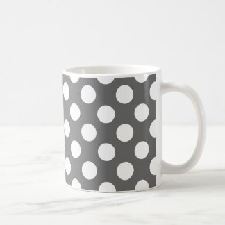 Charcoal and White Polka Dots Coffee Mug