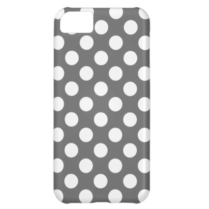 Charcoal and White Polka Dots Cover For iPhone 5C