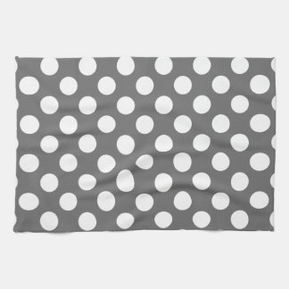 Charcoal and White Polka Dots Hand Towel