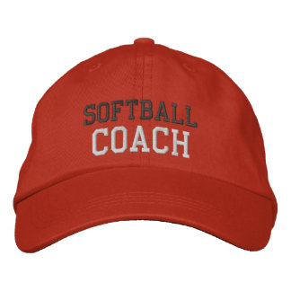 Charcoal and White Text Softball Coach Hat Embroidered Baseball Cap