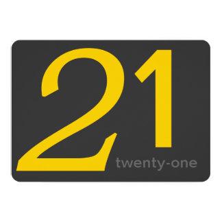 Charcoal and Yellow Custom 21st Birthday Invite