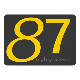 Charcoal and Yellow Custom 87th Birthday Invite