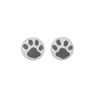 Charcoal Animal Paw Print On Light Gray Background Earrings