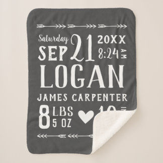 Charcoal Baby Boy Birth Stats | Editable Colors Sherpa Blanket