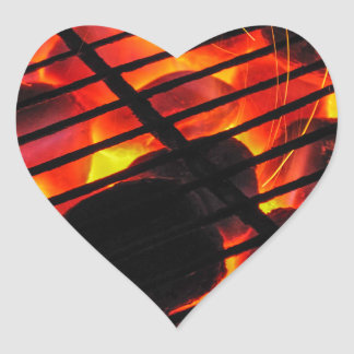 Charcoal Barbecue Heart Sticker
