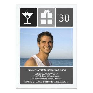 "Charcoal Birthday Icon Grid Photo 4.5"" X 6.25"" Invitation Card"