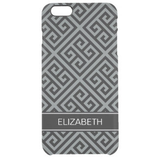 Charcoal Bk Med Greek Key Diag T Blk Name Monogram Clear iPhone 6 Plus Case