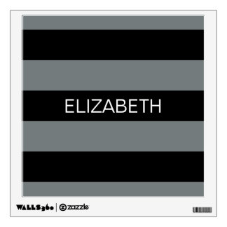 Charcoal Black Horiz Preppy Stripe #3 Monogram Wall Sticker