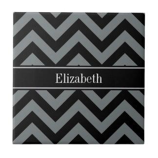 Charcoal, Black LG Chevron Black Name Monogram Ceramic Tile