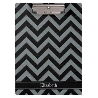 Charcoal, Black LG Chevron Black Name Monogram Clipboard