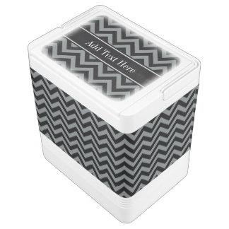Charcoal, Black LG Chevron Black Name Monogram Cooler