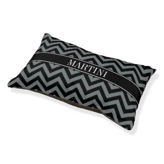 Charcoal, Black LG Chevron Black Name Monogram Dog Bed