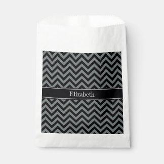 Charcoal, Black LG Chevron Black Name Monogram Favor Bag