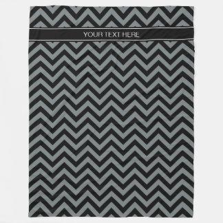 Charcoal, Black LG Chevron Black Name Monogram Fleece Blanket
