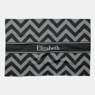 Charcoal, Black LG Chevron Black Name Monogram Hand Towel