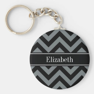 Charcoal, Black LG Chevron Black Name Monogram Keychain