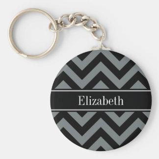 Charcoal, Black LG Chevron Black Name Monogram Keychains