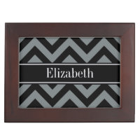 Charcoal, Black LG Chevron Black Name Monogram Memory Box