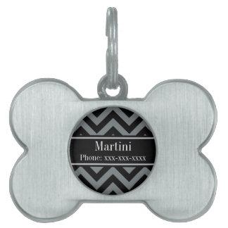 Charcoal, Black LG Chevron Black Name Monogram Pet Name Tag