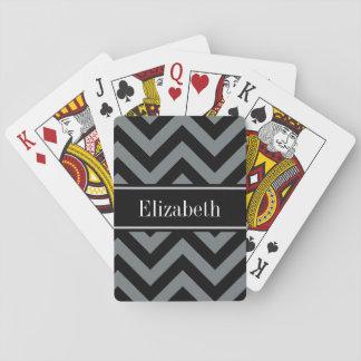 Charcoal, Black LG Chevron Black Name Monogram Playing Cards