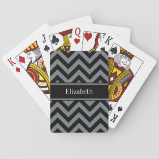 Charcoal, Black LG Chevron Black Name Monogram Poker Deck