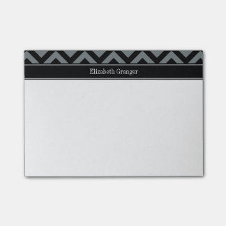 Charcoal, Black LG Chevron Black Name Monogram Post-it® Notes