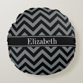 Charcoal, Black LG Chevron Black Name Monogram Round Pillow