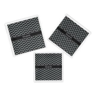 Charcoal, Black LG Chevron Black Name Monogram Serving Tray