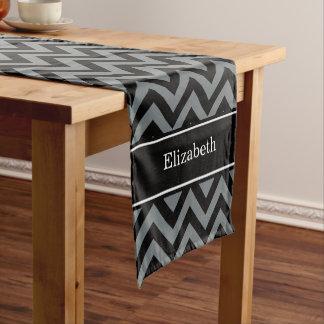 Charcoal, Black LG Chevron Black Name Monogram Short Table Runner