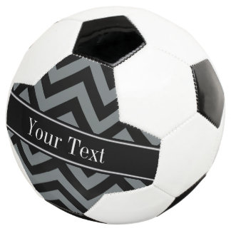 Charcoal, Black LG Chevron Black Name Monogram Soccer Ball
