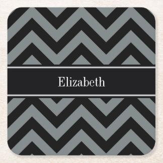 Charcoal, Black LG Chevron Black Name Monogram Square Paper Coaster