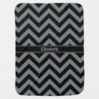 Charcoal, Black LG Chevron Black Name Monogram Stroller Blanket
