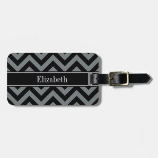 Charcoal, Black LG Chevron Black Name Monogram Tag For Luggage