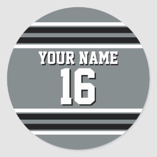 Charcoal Black Wht Team Jersey Custom Number Name Classic Round Sticker