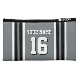Charcoal Black Wht Team Jersey Custom Number Name Makeup Bag
