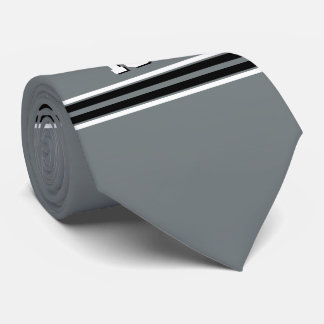 Charcoal Black Wht Team Jersey Custom Number Name Neck Tie