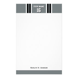 Charcoal Black Wht Team Jersey Custom Number Name Stationery