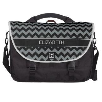 Charcoal Blk Chevron Zigzag 7P Black Name Monogram Bag For Laptop