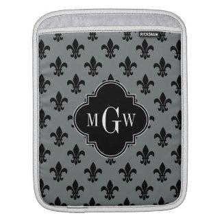 Charcoal Blk Fleur de Lis Black 3 Initial Monogram iPad Sleeves