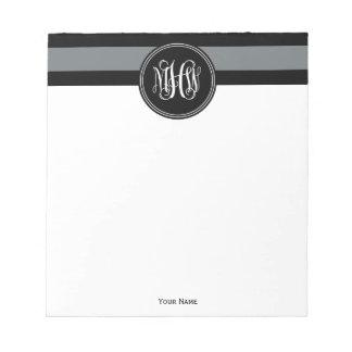 Charcoal Blk Horiz Stripe #3 Black Vine Monogram Memo Note Pad