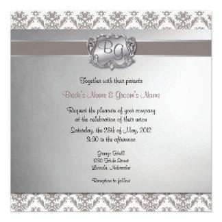 Charcoal Brown & Silver Elegant Wedding Invite - 2