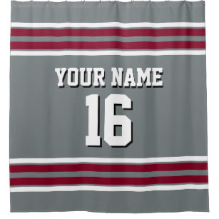 Charcoal Burgundy White Stripes Sports Jersey Shower Curtain