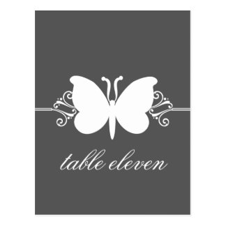 Charcoal Butterfly Swirls Table Postcard
