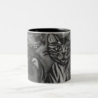 Charcoal cat Two-Tone coffee mug
