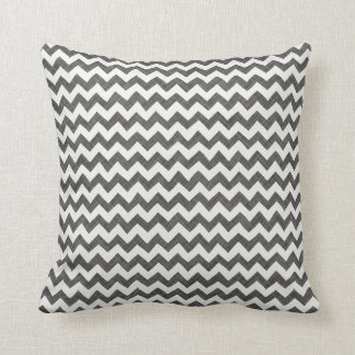 Charcoal Chevron Print (Fabric Textured) Pillow
