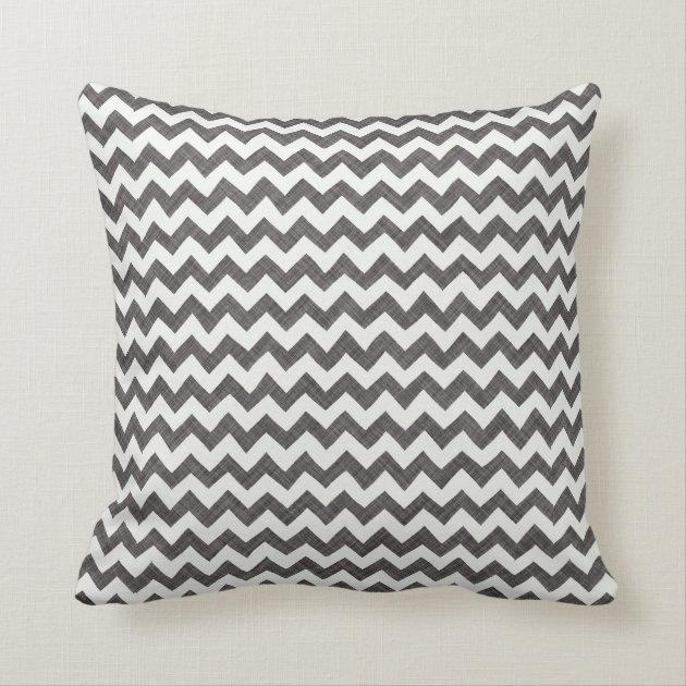 Charcoal Chevron Print Fabric Textured Pillow Zazzle Com