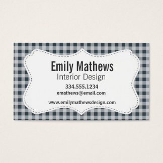 Charcoal Color Gingham Business Card