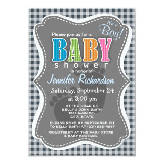 """Charcoal Color Gingham 4.5"""" X 6.25"""" Invitation Card"""