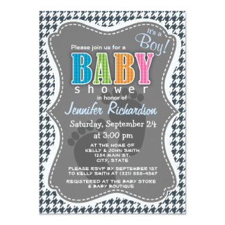 """Charcoal Color Houndstooth 4.5"""" X 6.25"""" Invitation Card"""